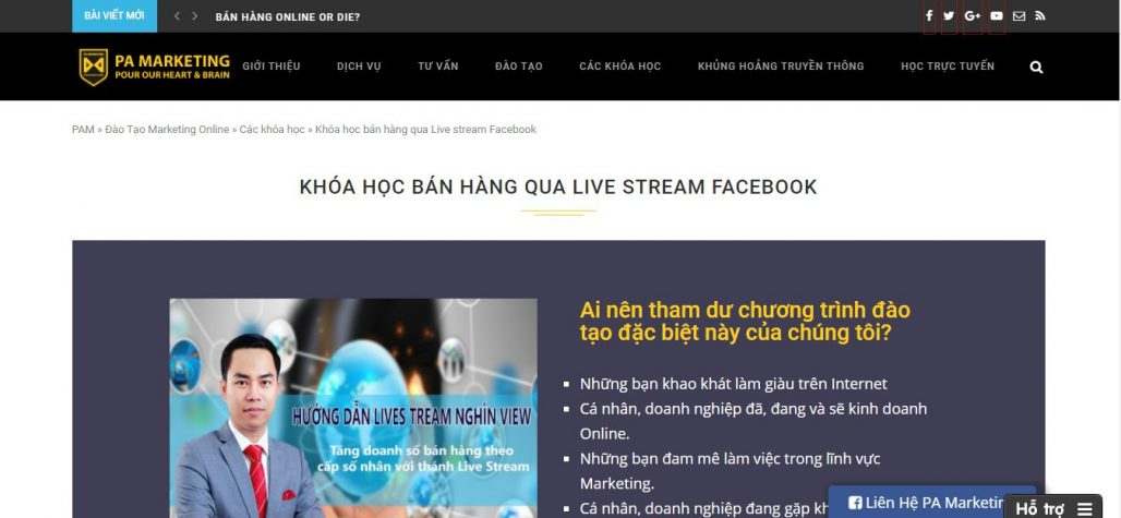 Công ty đào tạo bán hàng qua live stream PA MARKETING
