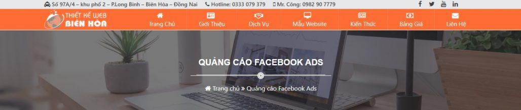 Công ty chạy quảng cáo Facebook Thiết kế web Biên Hòa