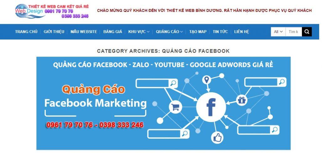 Công ty chạy quảng cáo Facebook Thiết kế web Bình Dương