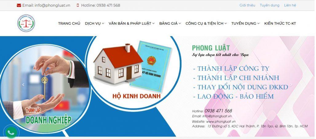 Dịch vụ thành lập công ty PHONG LUẬT