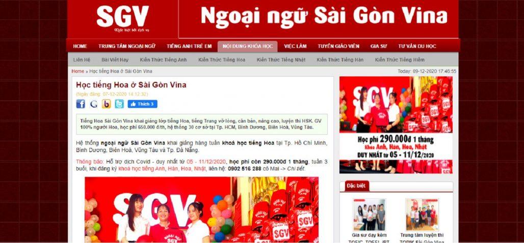 Trung tâm tiếng Trung - Ngoại ngữ Sài Gòn Vina
