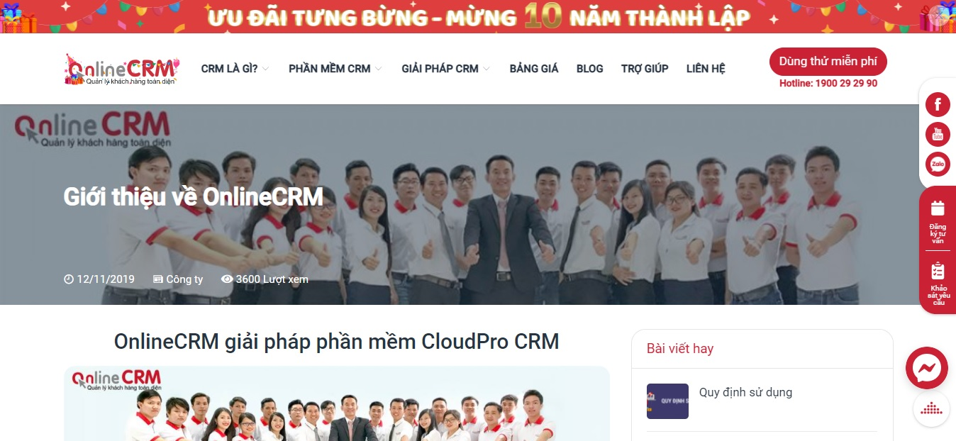 Công ty phần mềm CRM - ONLINECRM