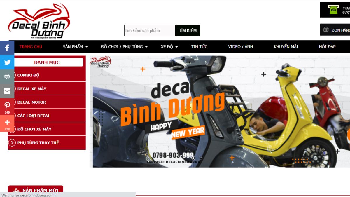 Cửa hàng phụ kiện mô tô xe máy Decal Bình Dương