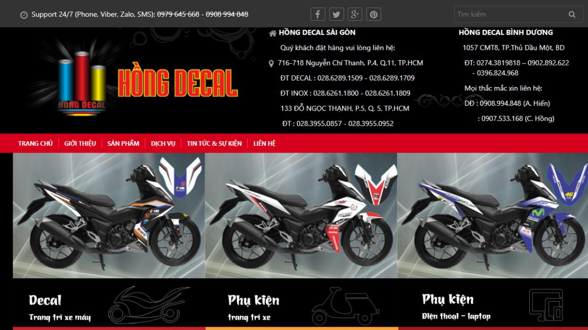 Địa chỉ bán phụ kiện xe máy Hồng Decal Bình Dương