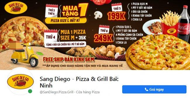Thương hiệu bánh pizza ngon Sang Diego - Pizza & Grill Bắc Ninh